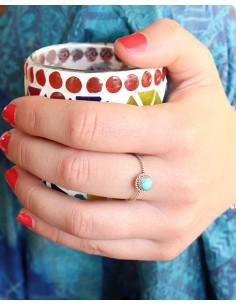 Bague argent très fine torsadée et turquoise - Mosaik bijoux indiens 2