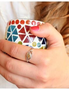 Bague argent ethnique et citrine - Mosaik bijoux indiens 2