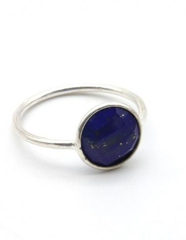 Bague fine et pierre bleue - Mosaik bijoux indiens