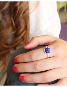 Bague fine et pierre bleue - Mosaik bijoux indiens 2