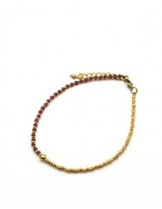 Chaîne de cheville en perles roses et dorées - Mosaik bijoux indiens