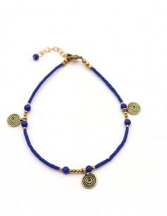 Chaîne de cheville perles bleues - Mosaik bijoux indiens