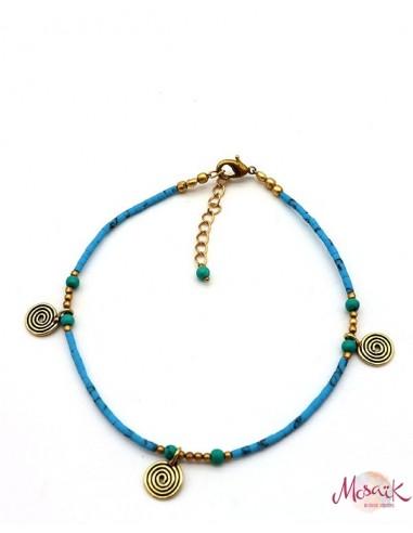 Chaîne de cheville dorée et perles turquoises - Mosaik bijoux indiens