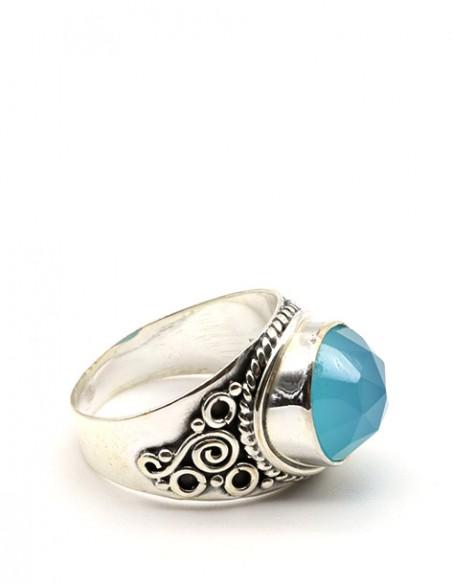 Bague argent épaisse travaillée et onyx bleu