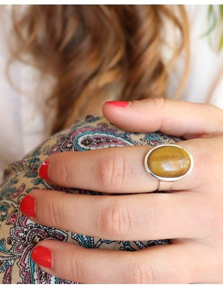 Bague argent et grosse pierre oeil de tigre - Mosaik bijoux indiens