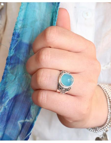 Bague argent ethnique épaisse et onyx bleu