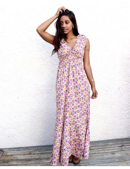 Longue robe bohème chic colorée - Mosaik bijoux indiens
