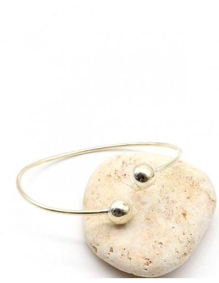 Bracelet argent fin boules - Mosaik  bijoux indiens