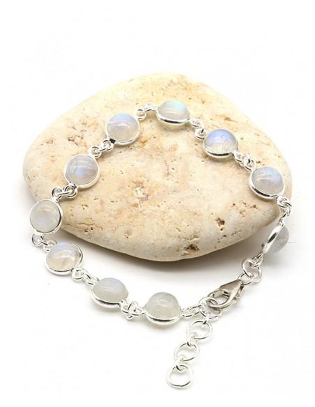 Bracelet en argent fin et pierres de lune