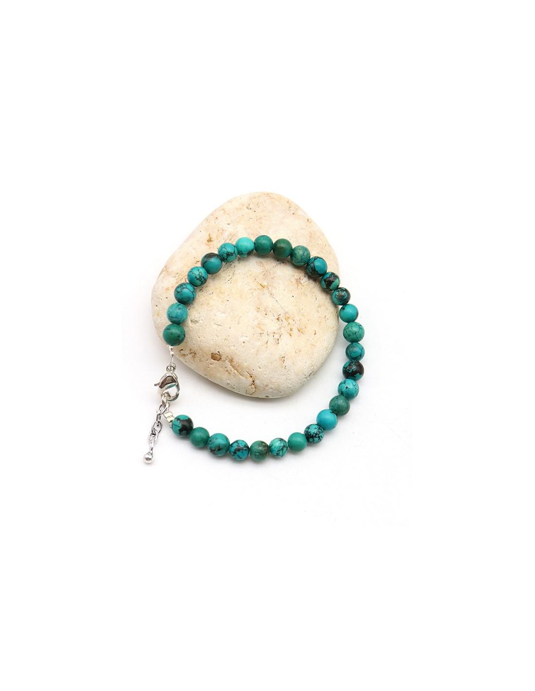 collier 20 perle 6mm Naturel Pierre Turquoise creation bijoux bracelet