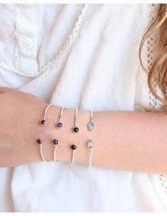 Bracelet en argent fin réglable et onyx 2