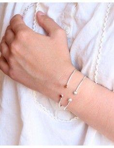Bracelet argent fin réglable et perles - Mosaik  bijoux indiens 2