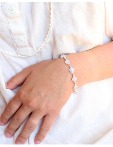 Bracelet argent et pierres de lune