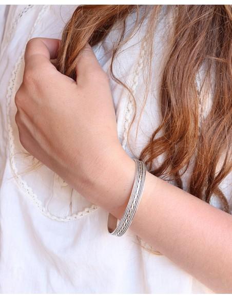 Bracelet argent demi jonc indien ethnique - Mosaik  bijoux indiens