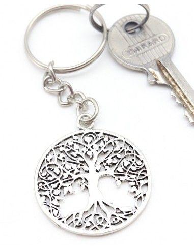 Porte clé arbre de vie argenté - Mosaik bijoux indiens