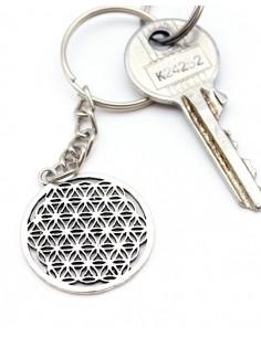 Porte clef fleur de vie argenté - Mosaik bijoux indiens