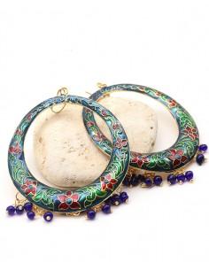 Boucles d'oreilles ethniques à grelots - Mosaik bijoux indiens