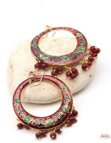 Boucles d'oreilles indiennes rouges - Mosaik bijoux indiens