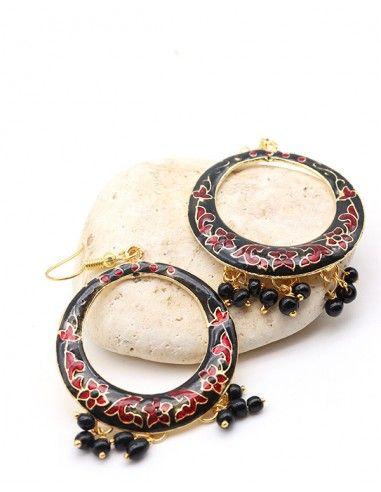 Boucles d'oreilles bohème noir à pampilles - Mosaik bijoux indiens