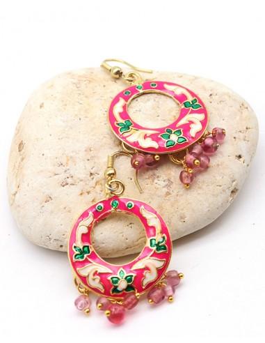 Boucles d'oreilles indiennes roses - Mosaik bijoux indiens