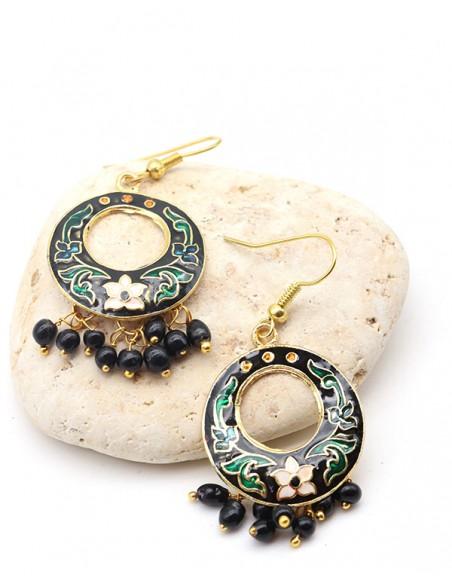 Boucles d'oreilles indiennes noires rondes - Mosaik bijoux indiens