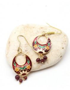 Boucle d'oreille indienne rouge à grelots - Mosaik bijoux indiens