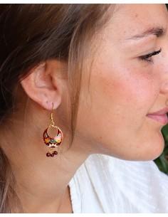Boucle d'oreille indienne rouge à grelots - Mosaik bijoux indiens 2