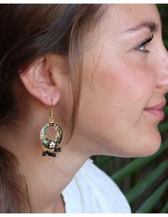 Boucles d'oreilles indiennes noires rondes - Mosaik bijoux indiens 2
