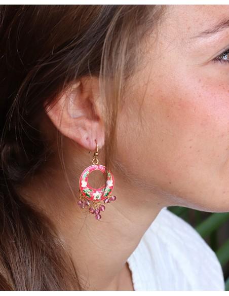 Boucles d'oreilles fantaisie roses - Mosaik bijoux indiens