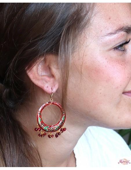 Boucles d'oreilles bohème à grelots - Mosaik bijoux indiens