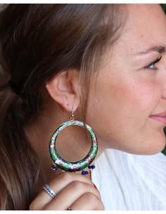 Boucles d'oreilles ethniques à grelots - Mosaik bijoux indiens 2