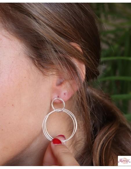 Boucles d'oreilles argentées - Mosaik bijoux indiens