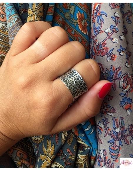 Anneau argent martelé - Mosaik bijoux indiens