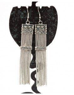 Boucles d'oreilles ethniques argentées pendantes - Mosaik bijoux indiens