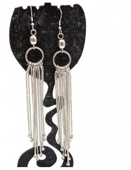 Boucles d'oreilles argentées longues - Mosaik bijoux indiens