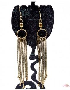 Boucles d'oreilles longues dorées à franges - Mosaik bijoux indiens