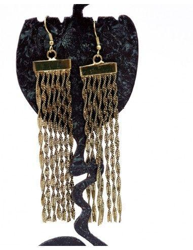 Boucles d'oreilles dorées longues - Mosaik bijoux indiens