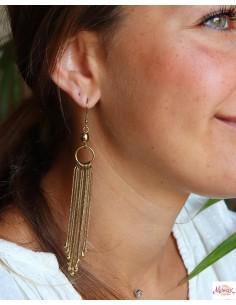 Boucles d'oreilles longues dorées à franges - Mosaik bijoux indiens 2