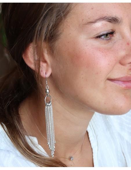 Boucles d'oreilles argentées à franges - Mosaik bijoux indiens