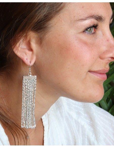Boucles d'oreilles argentées longues à franges - Mosaik bijoux indiens