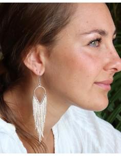 Boucles d'oreilles de fête argentées - Mosaik bijoux indiens 2