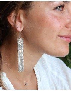 Boucles d'oreilles ethniques argentées pendantes - Mosaik bijoux indiens 2