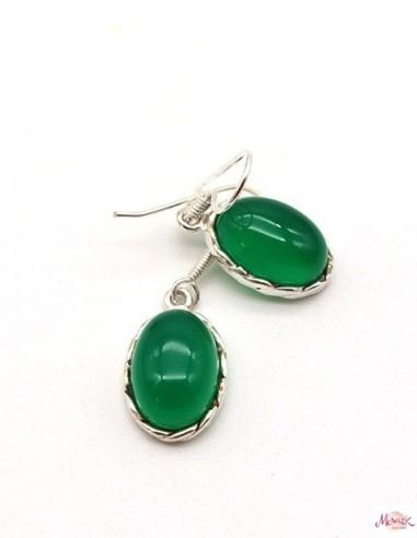 Boucles d'oreilles en argent et agate verte ovale