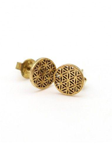 Clou d'oreille fleur de vie doré - Mosaik bijoux indiens