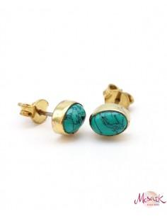 Puces d'oreilles laiton et turquoise ovale - Mosaik bijoux indiens
