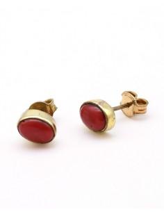 Puces d'oreilles laiton et agate rouge - Mosaik bijoux indiens