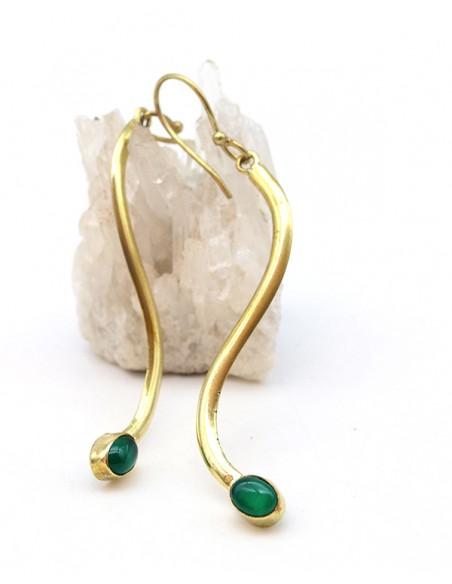 Boucles d'oreilles longues fines dorées et agate verte - Mosaik bijoux indiens