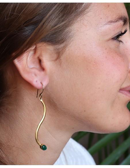 Boucles d'oreilles laiton et agate verte longues - Mosaik bijoux indiens