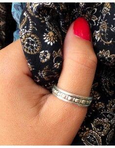 Bague anti-stress en argent travaillée - Mosaik bijoux indiens 2