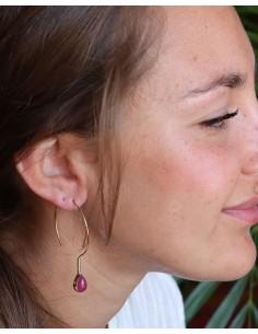 Boucles d'oreilles dorées fines et rubellite - Mosaik bijoux indiens 2